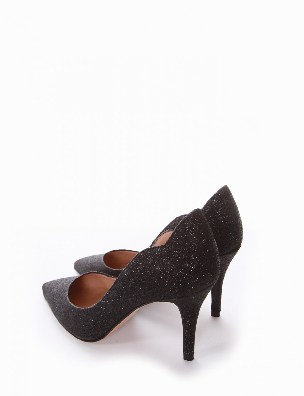 Pumps heel 7 cm black glitter