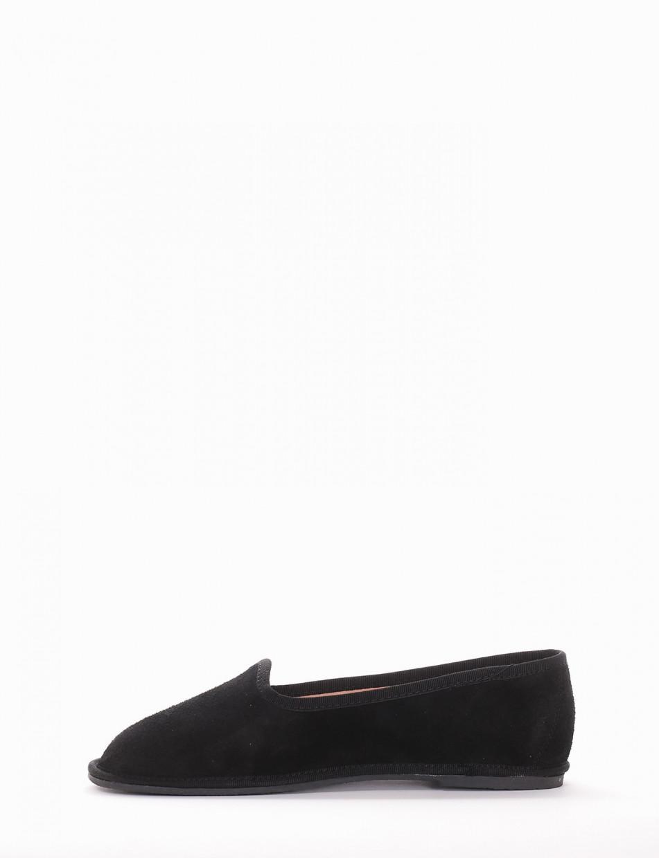 Flat shoes heel 1 cm black chamois
