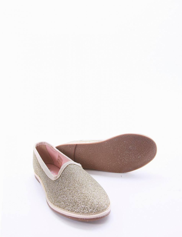 Flat shoes heel 1 cm platinum glitter