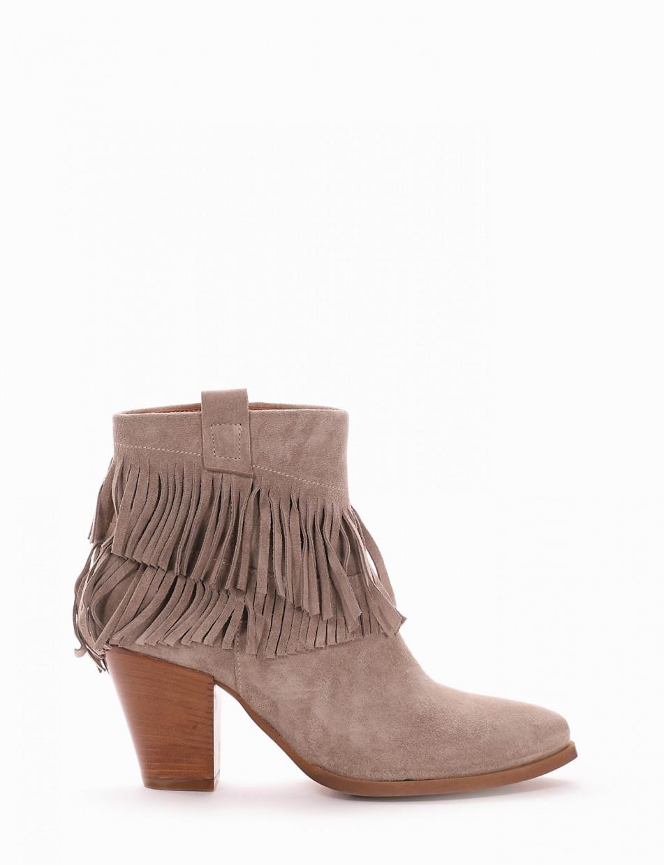 High heel ankle boots heel 8 cm beige chamois