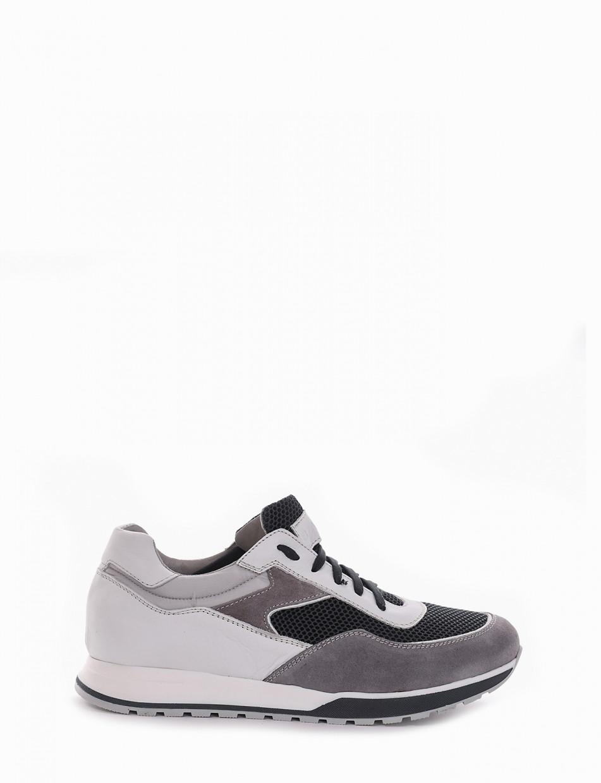 Sneakers heel 2 cm gray leather