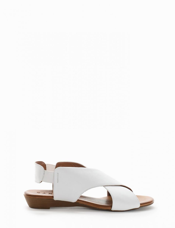 Low heel sandals heel 2 cm white leather