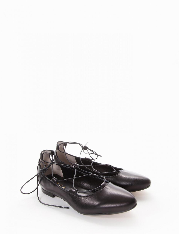Flat shoes heel 1 cm black leather