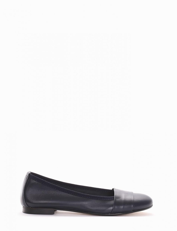 Flat shoes heel 1 cm blu leather