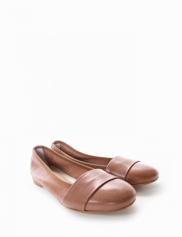 Ballerina tacco 1 cm cuoio