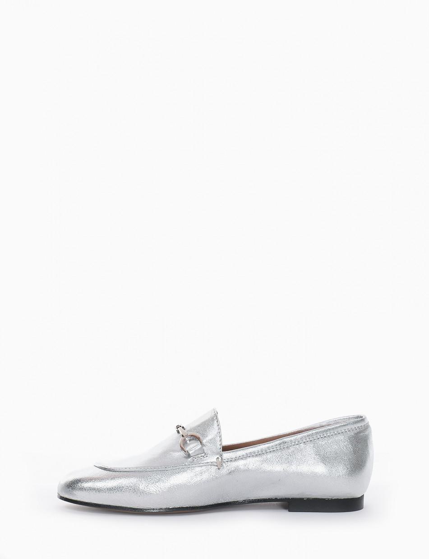 mocassino tacco 1 cm argento
