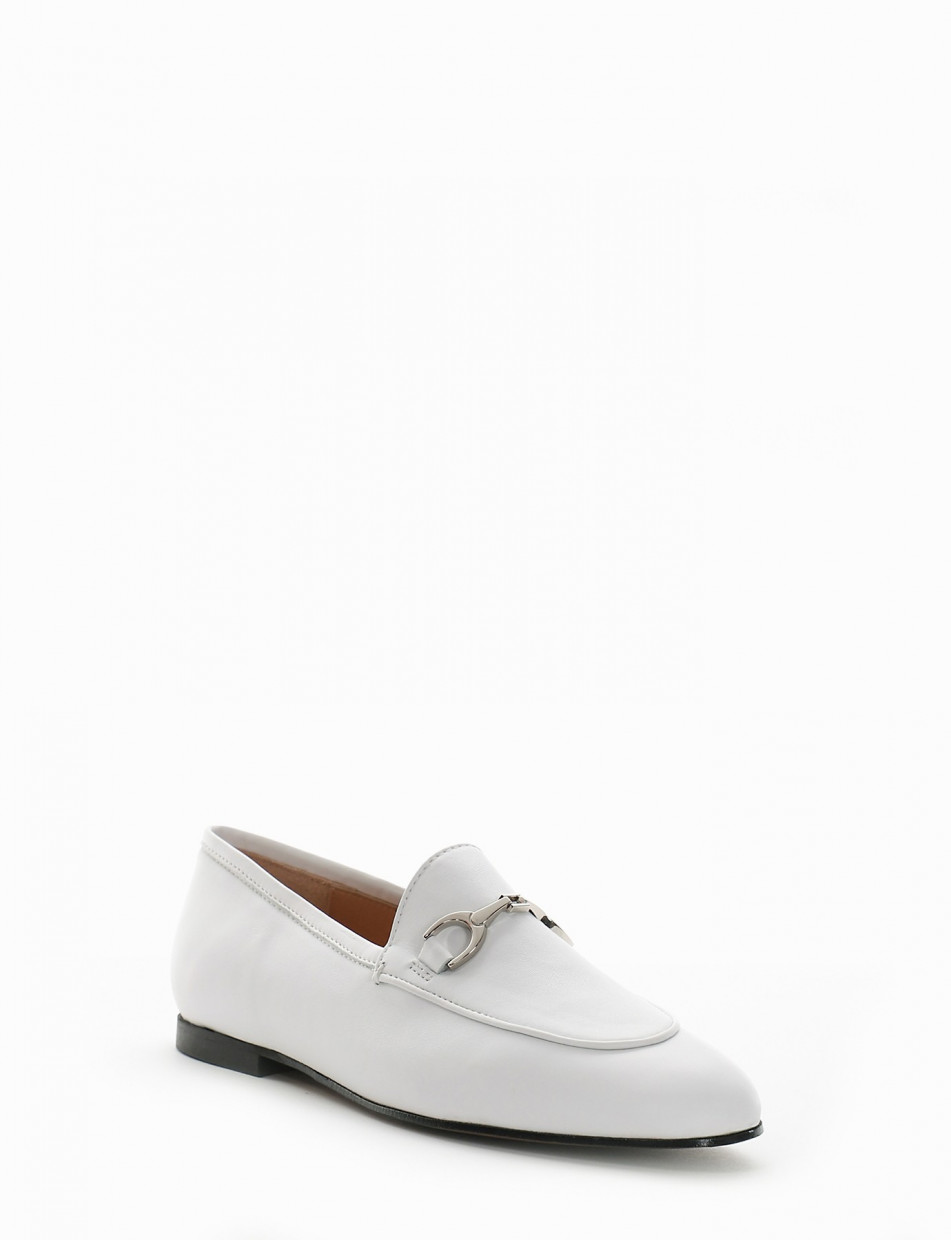 Loafers white leather
