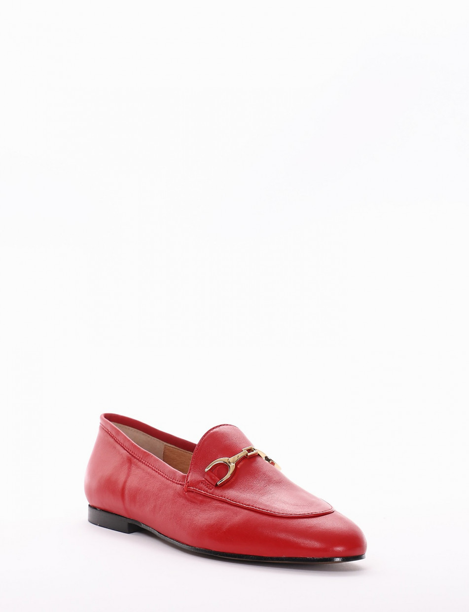 Loafers red leather