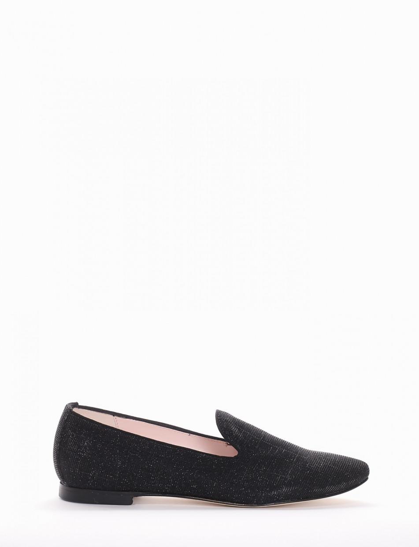 Flat shoes heel 1 cm black tissue