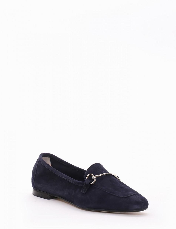 Loafers heel 1cm blu chamois