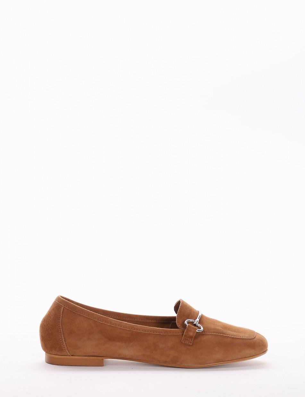Loafers heel 1cm brown chamois