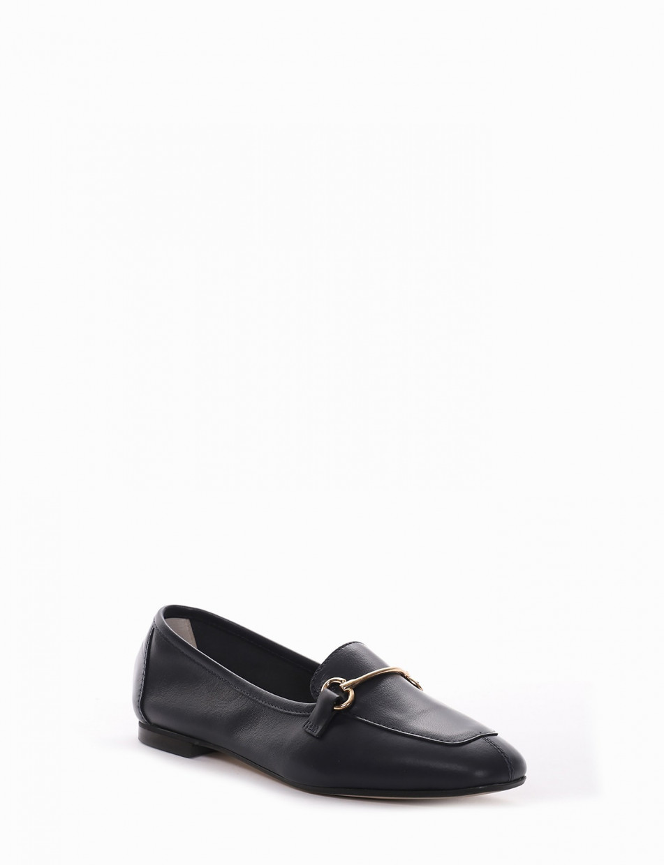 Loafers heel 1cm blu leather