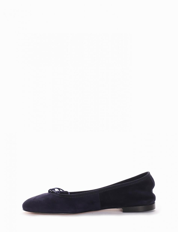 Flat shoes heel 1 cm blu chamois