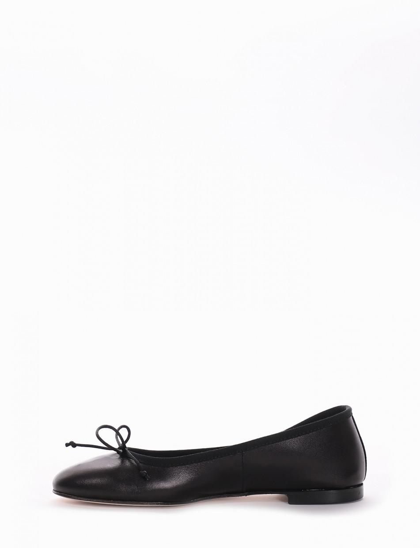 Flat shoes heel 1cm black leather