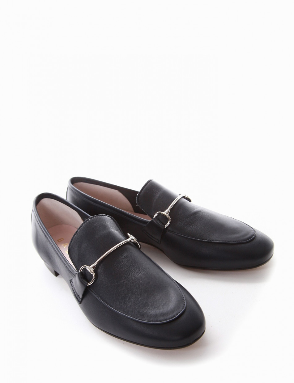 Loafers heel 2 cm blu leather