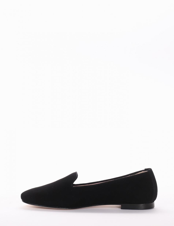 Flat shoes heel 1cm black chamois