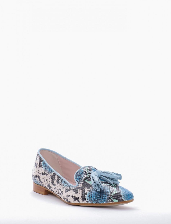 Ballerina tacco 2cm azzurro