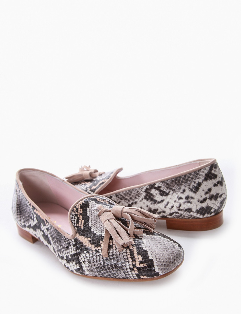 Flat shoes leather pitone