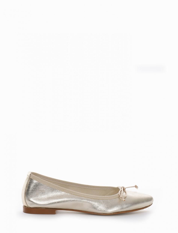 Flat shoes heel 1 cm gold laminated