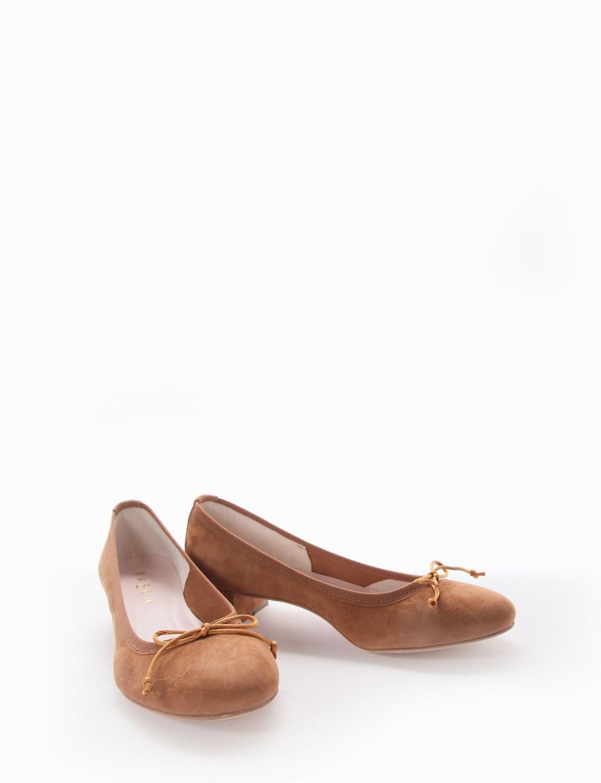 Ballerina tacco 4 cm cuoio