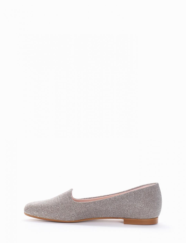 Flat shoes heel 1 cm beige glitter