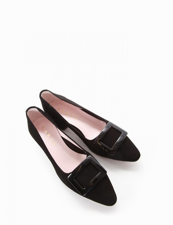 Pumps heel 3 cm black chamois