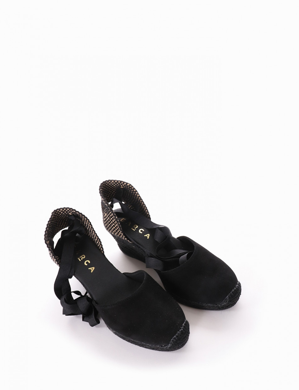Espadrillas heel 6 cm black chamois