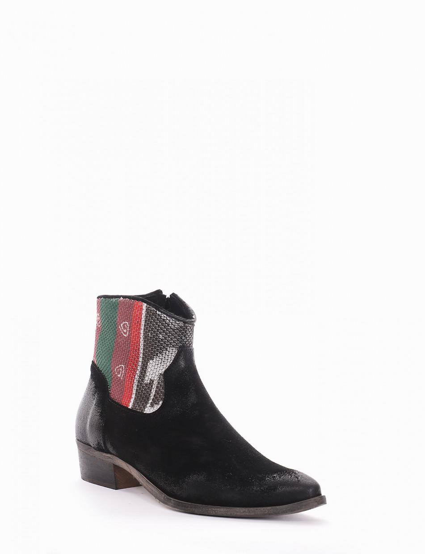 Low heel ankle boots heel 3 cm black chamois