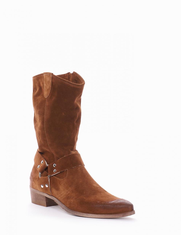 Low heel ankle boots heel 3 cm brown chamois