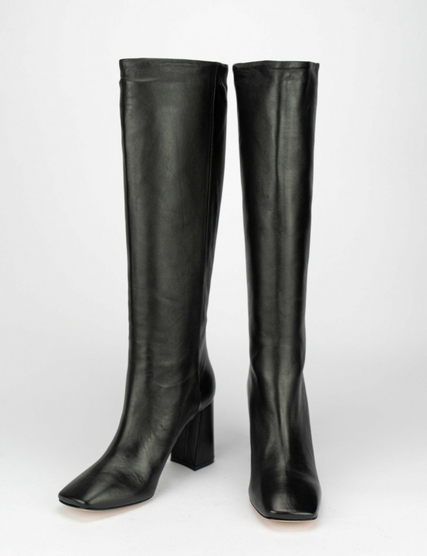 High heel boots heel 9 cm black leather