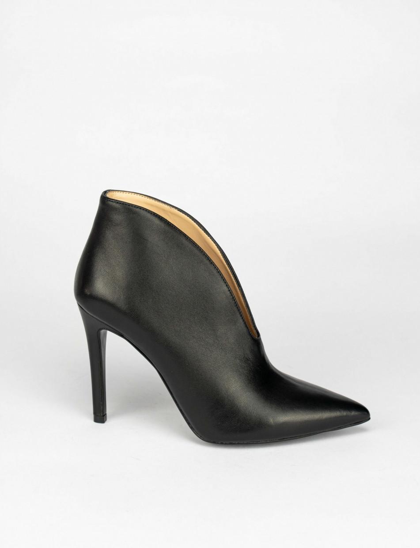 High heel ankle boots heel 10 cm black leather