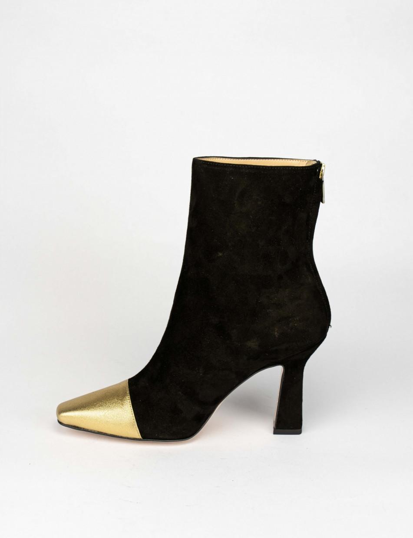 High heel ankle boots heel 9 cm black chamois