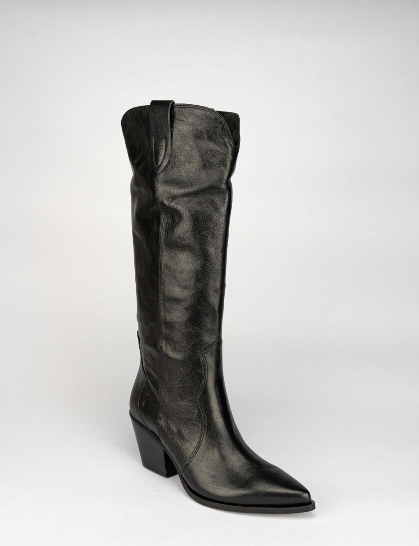 High heel boots heel 6 cm black leather