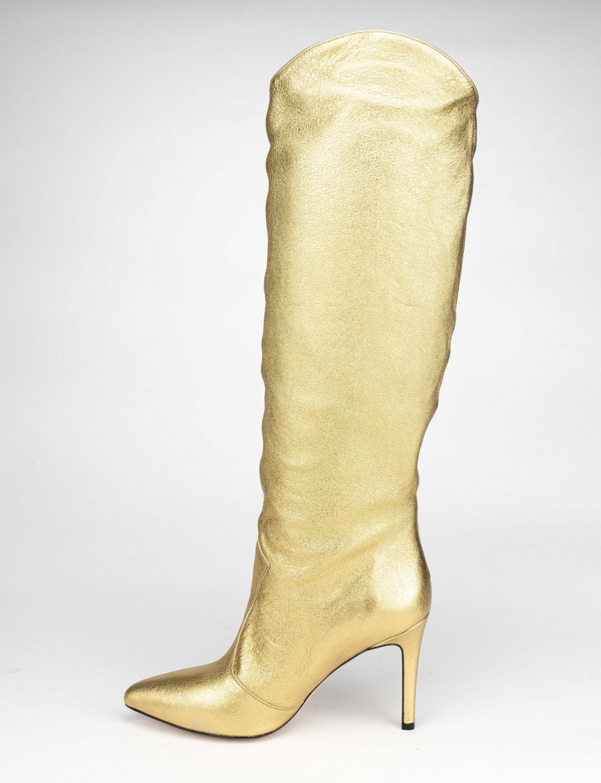High heel boots heel 9 cm gold leather