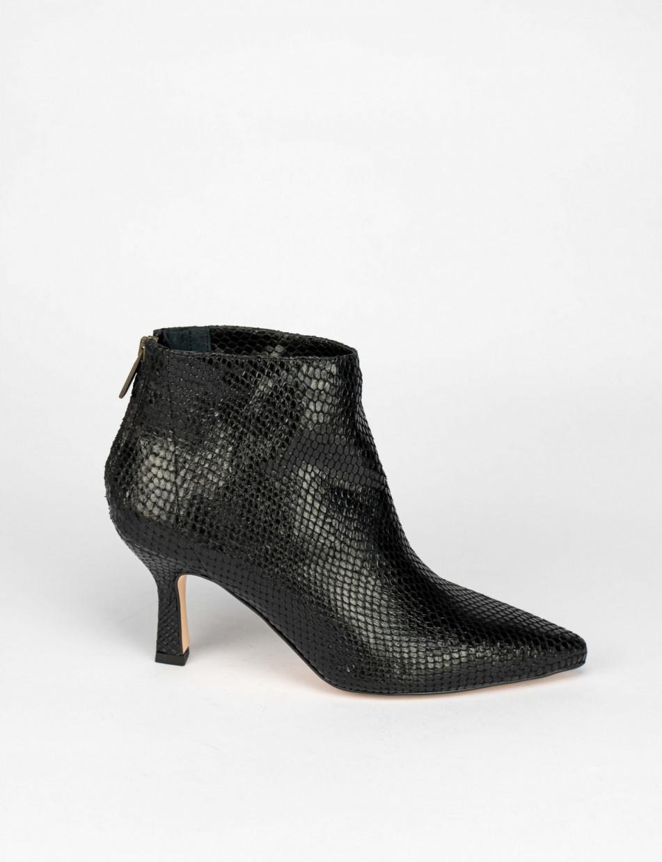 High heel ankle boots heel 7 cm black python