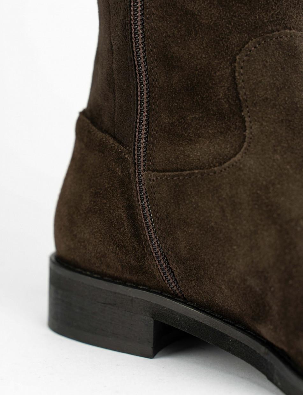 Low heel boots heel 2 cm dark brown chamois