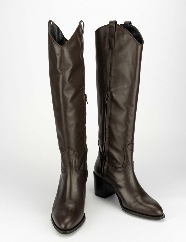 High heel boots heel 6 cm dark brown leather