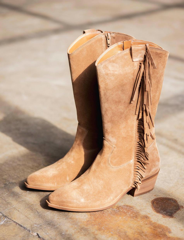 Low heel boots heel 4 cm brown chamois