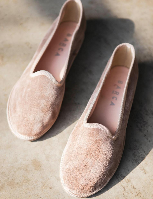 Flat shoes heel 1 cm pink chamois