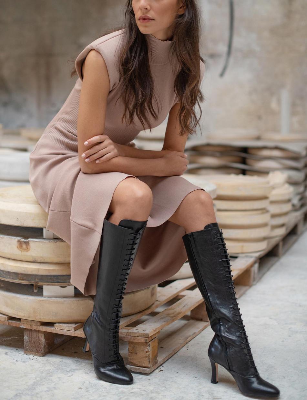 High heel boots heel 8 cm black leather