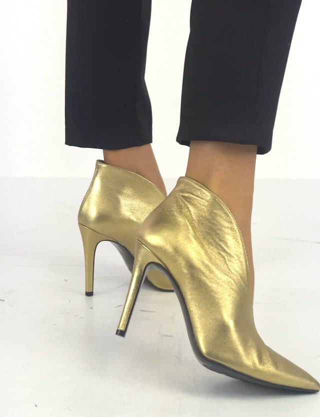 High heel ankle boots heel 10 cm gold leather