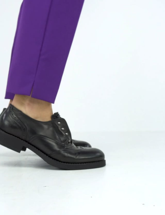 Lace-up shoes heel 3 cm black leather