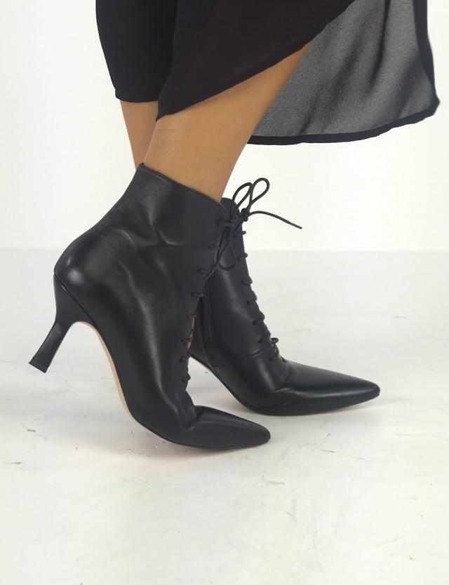 High heel ankle boots heel 7 cm black leather