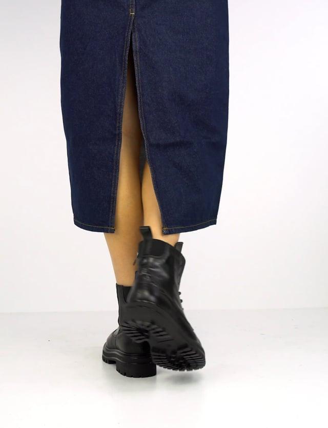 Combat boots heel 3cm black leather