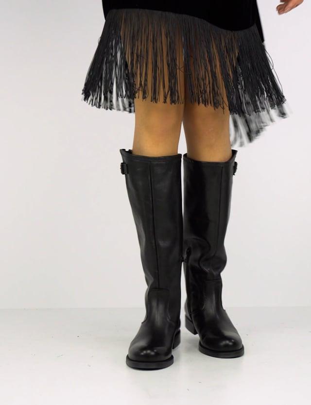 Low heel boots heel 2 cm black leather