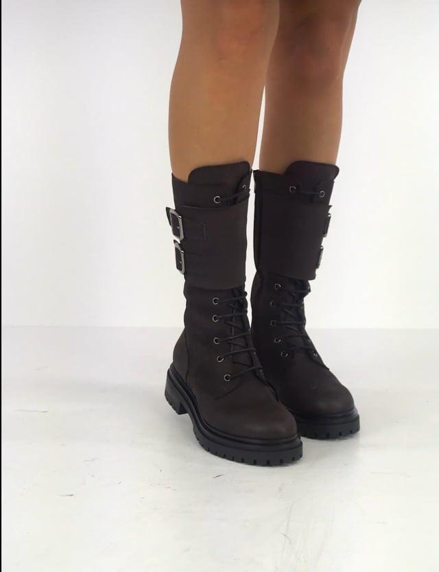 Combat boots heel 3 cm dark brown leather