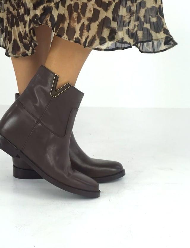 Low heel ankle boots heel 2 cm dark brown leather