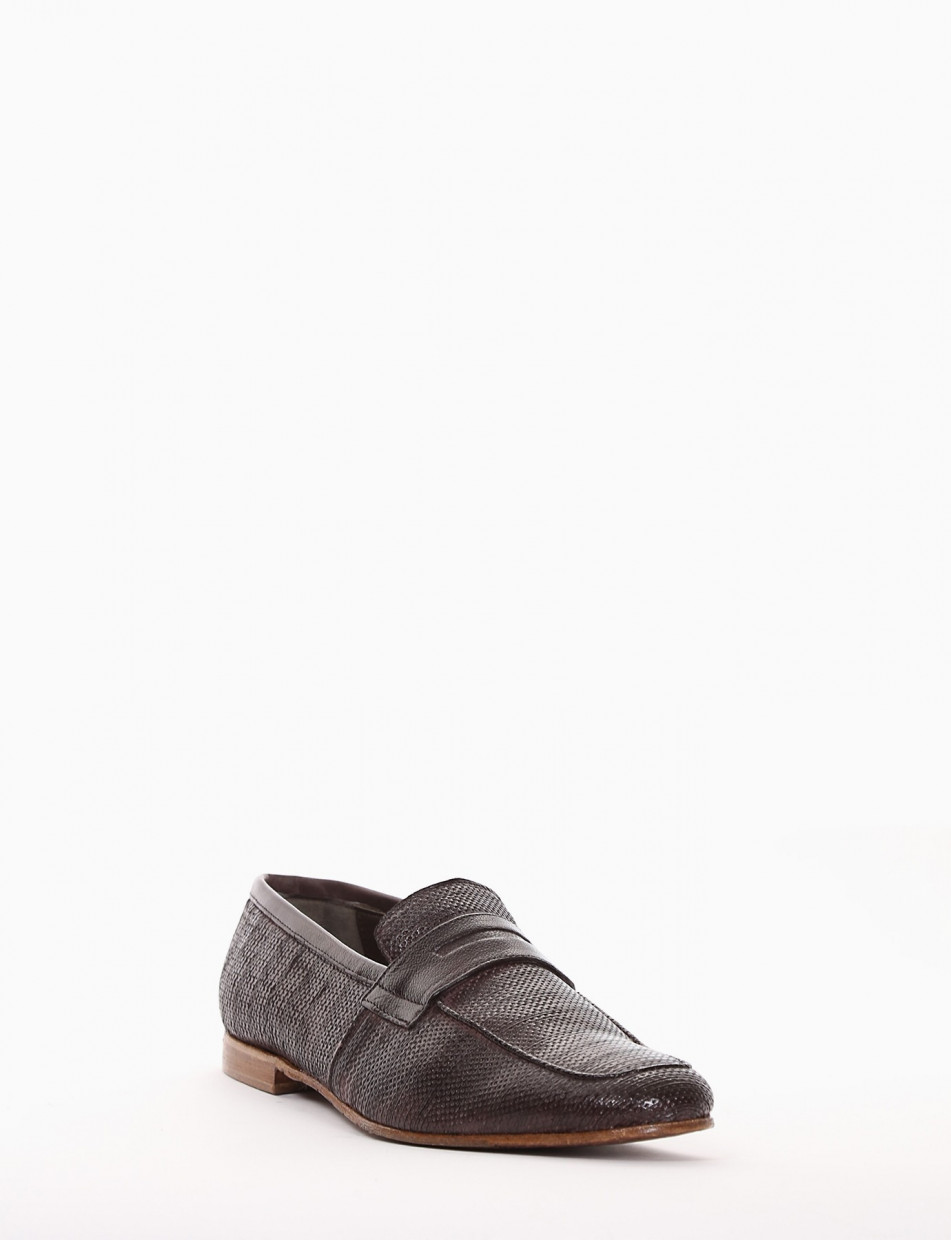 Loafers heel 2 cm dark brown leather