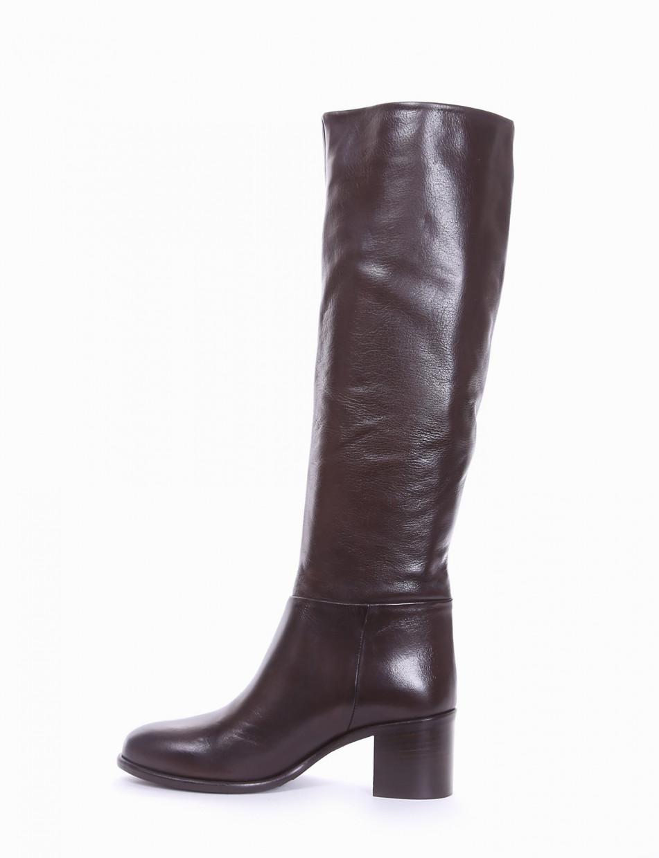 High heel boots heel 5 cm dark brown leather