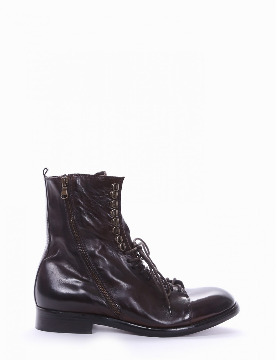 Combat boots heel 2 cm dark brown leather